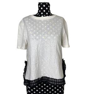 English Factory White Tee w/ Black lace Trim Small